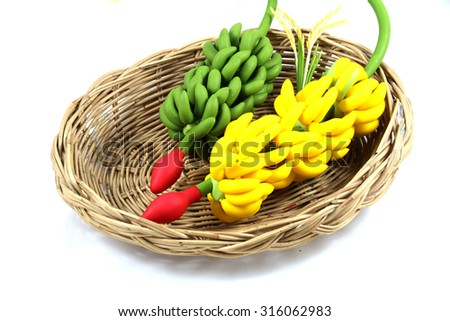 Banana molding clay on isolate background. - stock photo