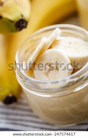 Banana pudding for breakfast - stock photo