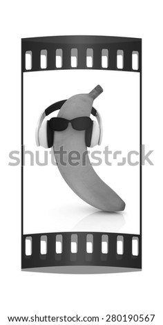 "banana with sun glass and headphones front ""face"" on a white background. The film strip - stock photo"