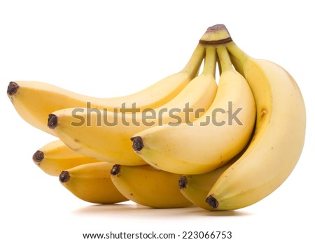Bananas bunch isolated on white background cutout - stock photo