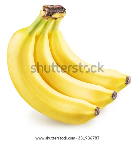 Bananas isolated on a white background. Picture is of high quality. Clipping path. - stock photo