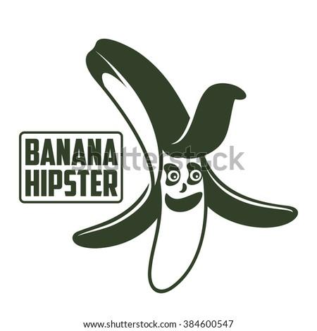 Bananas logo, sticker, emblem. Funny cartoon banana. - stock photo