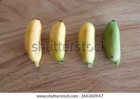bananas shape fresh fruit and Time ripe banana - stock photo
