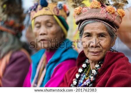 BANAUE, PHILIPPINES, DECEMBER 03 : Portrait of senior Filipino woman of Ifugao mountain tribes in Banaue village, north Luzon, Philippines, on december 03, 2013 - stock photo