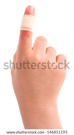 Band aid plaster applied to a female finger isolated on white background - stock photo