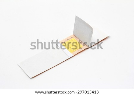 band aid plaster, bandage isolated on white - stock photo
