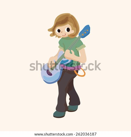 band member guitar player theme elements - stock photo