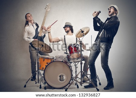 band of musicians plays - stock photo