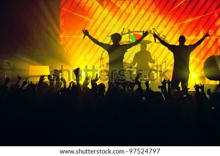 Band Silhouette Crowd - stock photo