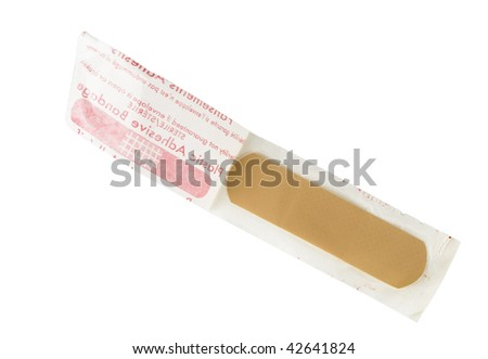 Bandage in package isolated on white - stock photo