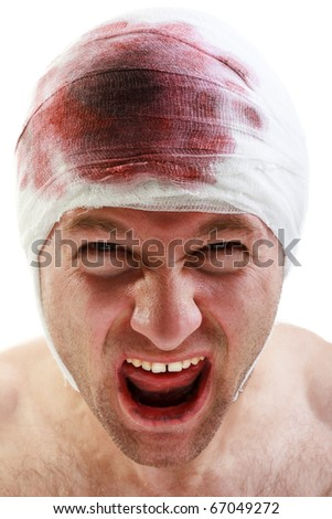Bandage on human brain concussion blood wound head - stock photo