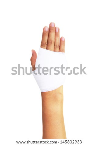 Bandaged hand isolated on white, with clipping path - stock photo