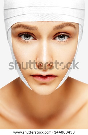 bandaged young woman - stock photo
