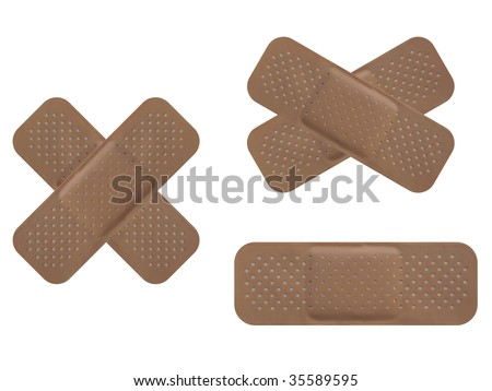 Bandaid isolated over a white background - stock photo