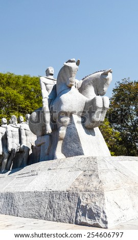 Bandeirantes Public Monument in Ibirapuera Park, Sao Paulo - stock photo