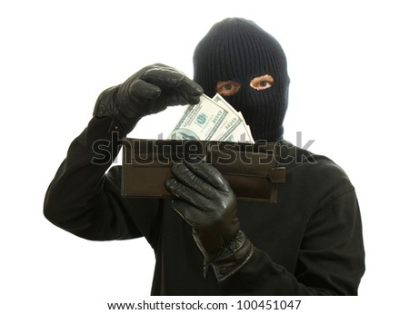 Bandit in black mask with stolen wallet isolated on white - stock photo