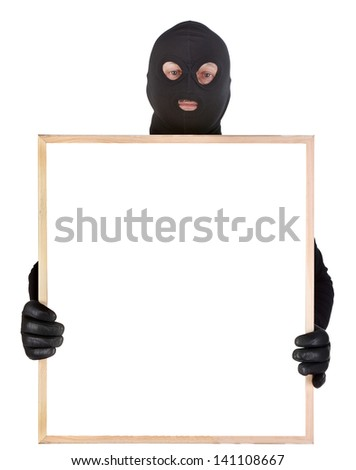 bandit with empty frame isolated on white - stock photo