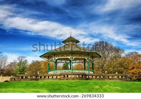 Bandstand in Greenhead park, Huddersfield, Yorkshire, England - stock photo
