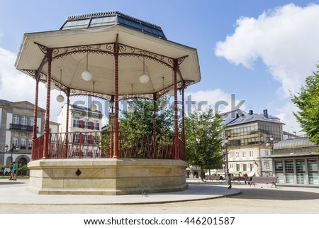 Bandstand on Maior square of Lugo city - stock photo