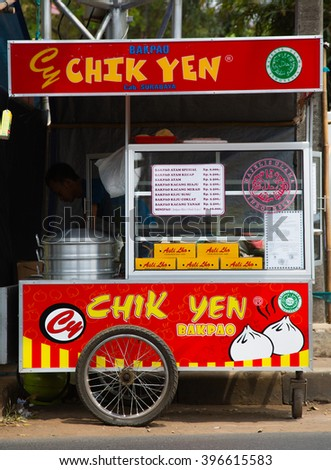 BANDUNG, INDONESIA - AUGUST 28, 2015: Indonesian food stall in Bandung, Indonesia  - stock photo
