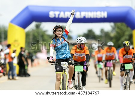 BANDUNG,UDON THANI-JULY 24 2016:Woman racers trying to winner. - stock photo