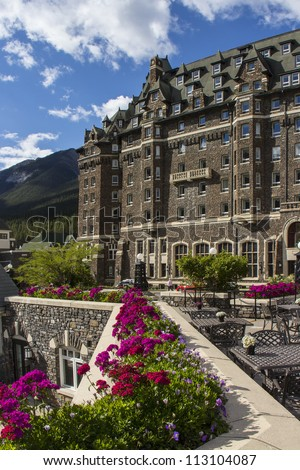 Banff Springs Hotel in Banff National Park - stock photo