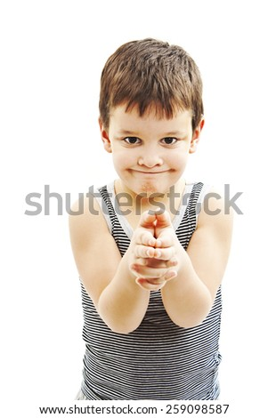 Bang bang. Boy pointing at you with gun gesture. Isolated on white background - stock photo
