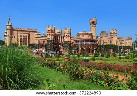 BANGALORE, INDIA - Dec 13: Bangalore Palace in India on Dec 13, 2015 The Bangalore Palace was built by a Wodeyar King in 1887 on the 400 acre space. Inspired by the Windsor castle. - stock photo