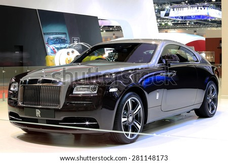 Bangkok - April 2 : black Rolls Royce luxury car in display at The 36th Bangkok international Motor Show 2015 on April 2, 2015 in Bangkok Thailand - stock photo