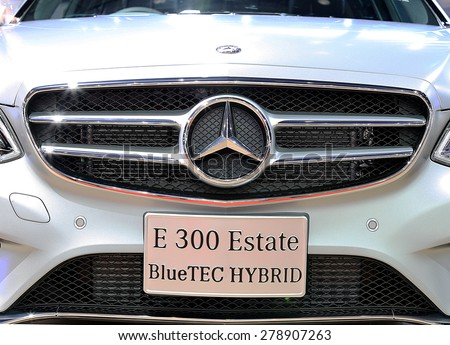 Bangkok - April 2 : close up logo on bumper of Mercedes Benz series E300 estate blue TEC hybrid - in display at The 36th Bangkok international Motor Show 2015 on April 2, 2015 in Bangkok Thailand - stock photo