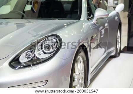 BANGKOK - APRIL 3 : Detail on the head light of Porsche in The 36 th Bangkok International Motorshow , on April. 3, 2015 in Bangkok, Thailand - stock photo