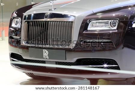 Bangkok - April 2 : front grill of black Rolls Royce luxury car in display at The 36th Bangkok international Motor Show 2015 on April 2, 2015 in Bangkok Thailand - stock photo