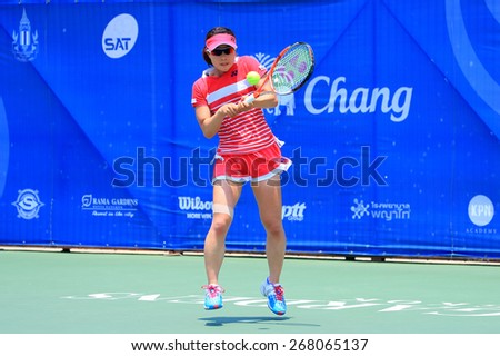 BANGKOK, APRIL 4 : Miyabi Inoue of Japan action in Chang ITF Pro Circuit International Tennis Federation 2015 at Rama Gardens Hotel on April 4, 2015 in Bangkok, Thailand. - stock photo