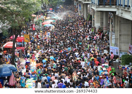 Bangkok April 13:Songkran Festival at Silom Road, Bangkok, is another beat place to celebrate Thai tradition New Year for thais and foreigners on Silom Bangkok April 13,2014 in Thailand