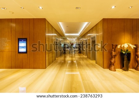 BANGKOK - AUG 11: Hall way of Seminar room, Centara Grand Hotel on Aug 11, 2014 in Bangkok. It was first opened in 1982, later managed by the new founded hotel management group, Central Hotel&Resorts. - stock photo