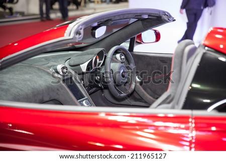 BANGKOK - AUGUST 16 :In side Lamborghini sport car on display at Big Motor  Sale 2014 on Aug 16,2014 in BITEC ,Bangkok, Thailand. - stock photo