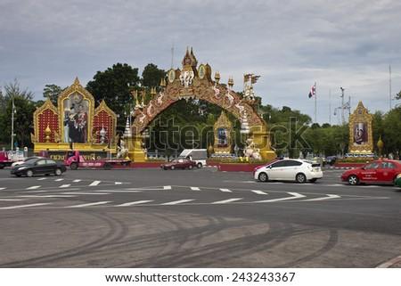 BANGKOK - AUGUST 25: Traffic on August 25, 2012 in Bangkok, Thailand. Traffic jams remains constant problem in Bangkok despite rapid development of public transportation system. - stock photo