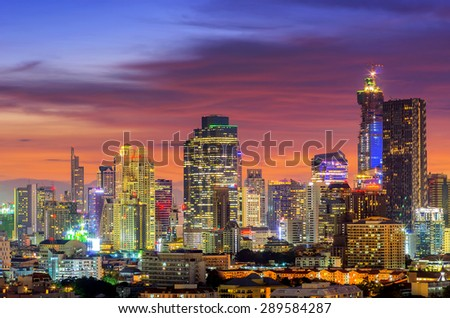 Bangkok business district during twilight sky dramatic. - stock photo
