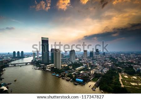 Bangkok City aerial view - stock photo