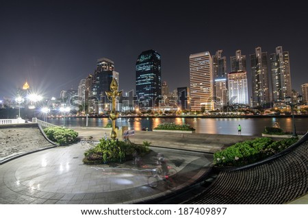 Bangkok city at night with reflection of skyline, Bangkok,Thailand  - stock photo