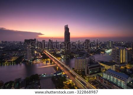 Bangkok city at sunset - stock photo