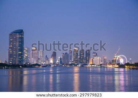 Bangkok city building at night.river in city.building and tall building in city. - stock photo