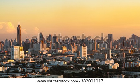 Bangkok City downtown with hotel, condominium and high rise building during sunset,Thailand. Bangkok is the most populated city in Southeast Asia. - stock photo