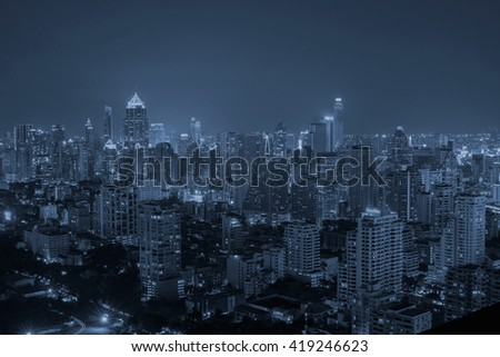 Bangkok City,Hotel and resident area in the capital of Thailand,blue tone - stock photo