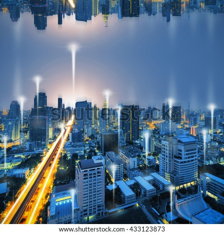 Bangkok city night and network connection concept. - stock photo