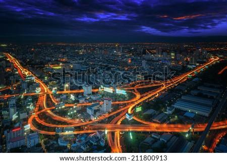 Bangkok city night view with main traffic and express way and road - stock photo