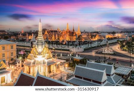 Bangkok City Pillars Shrine and Wat Phra Kaew - stock photo