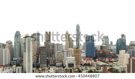 Bangkok city skyline isolated. Panoramic and perspective view light blue background of glass high rise building skyscraper commercial of future. Business concept of success industry tech architecture - stock photo