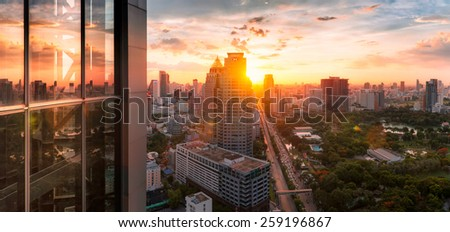 bangkok city sunlight panorama, thailand - stock photo