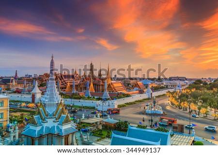 Bangkok city Temple of the Emerald Buddha Bangkok, Asia Thailand - stock photo